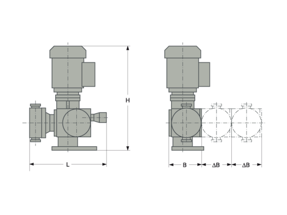 Assembly dimensions LEWA ecodos