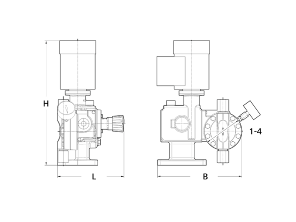 Assembly dimensions LEWA ecosmart single pump